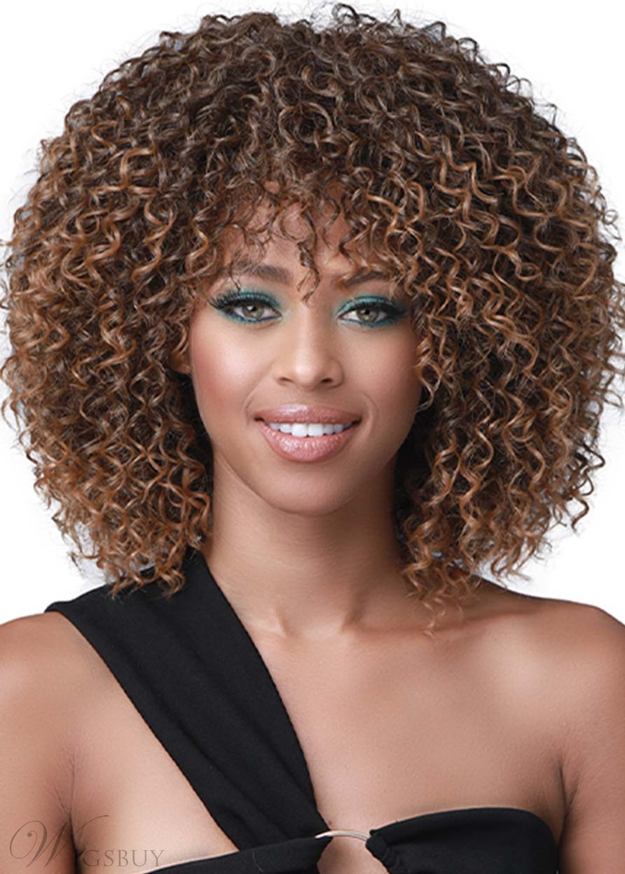 African American Women's Medium Hairstyles Kinky Curly Synthetic Hair Capless Wigs 16Inch