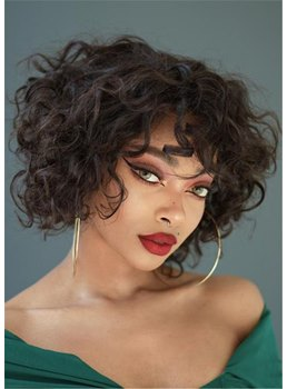 Medium Hairstyle Kinky Curly Human Hair Wigs With Bangs 12Inch For African American Women