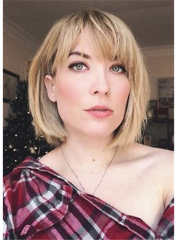 Short Bob Hairstyles Straight Synthetic Hair Capless Wigs With Bangs 14 Inch