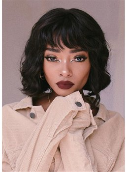 Short Wavy Bob Style Human Hair Capless Wigs With Bangs 14Inch For African American Women