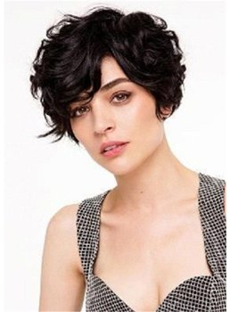Short Haircut For Thick Hair Wavy Synthetic Hair Capless Wigs 10Inch