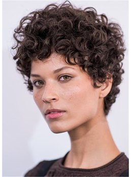 Women's Short Kinky Curly Hairstyles Synthetic Hair Capless Wigs 8Inch