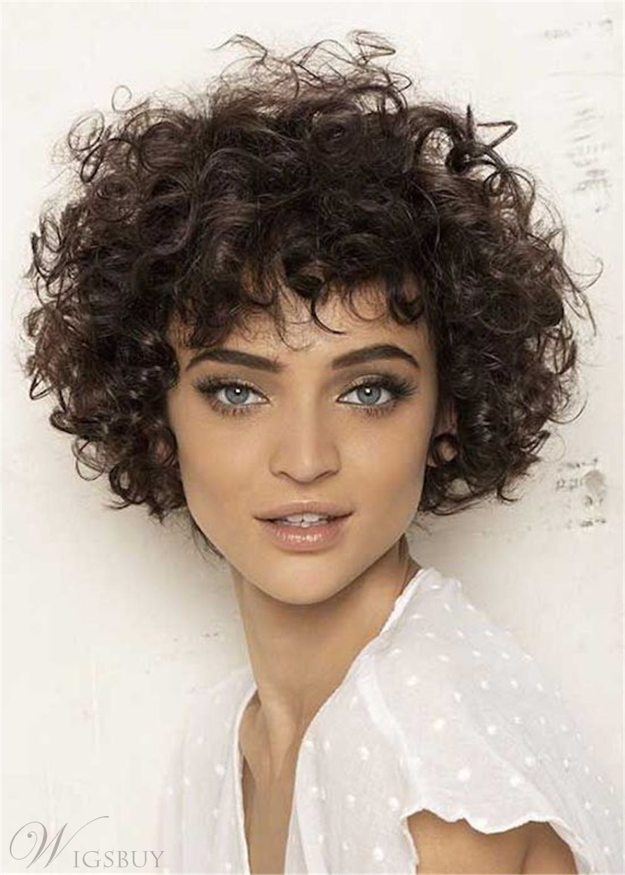 African American Women's Kinky Curly Hairstyle Human Hair Capless Wigs With Bangs 10Inch