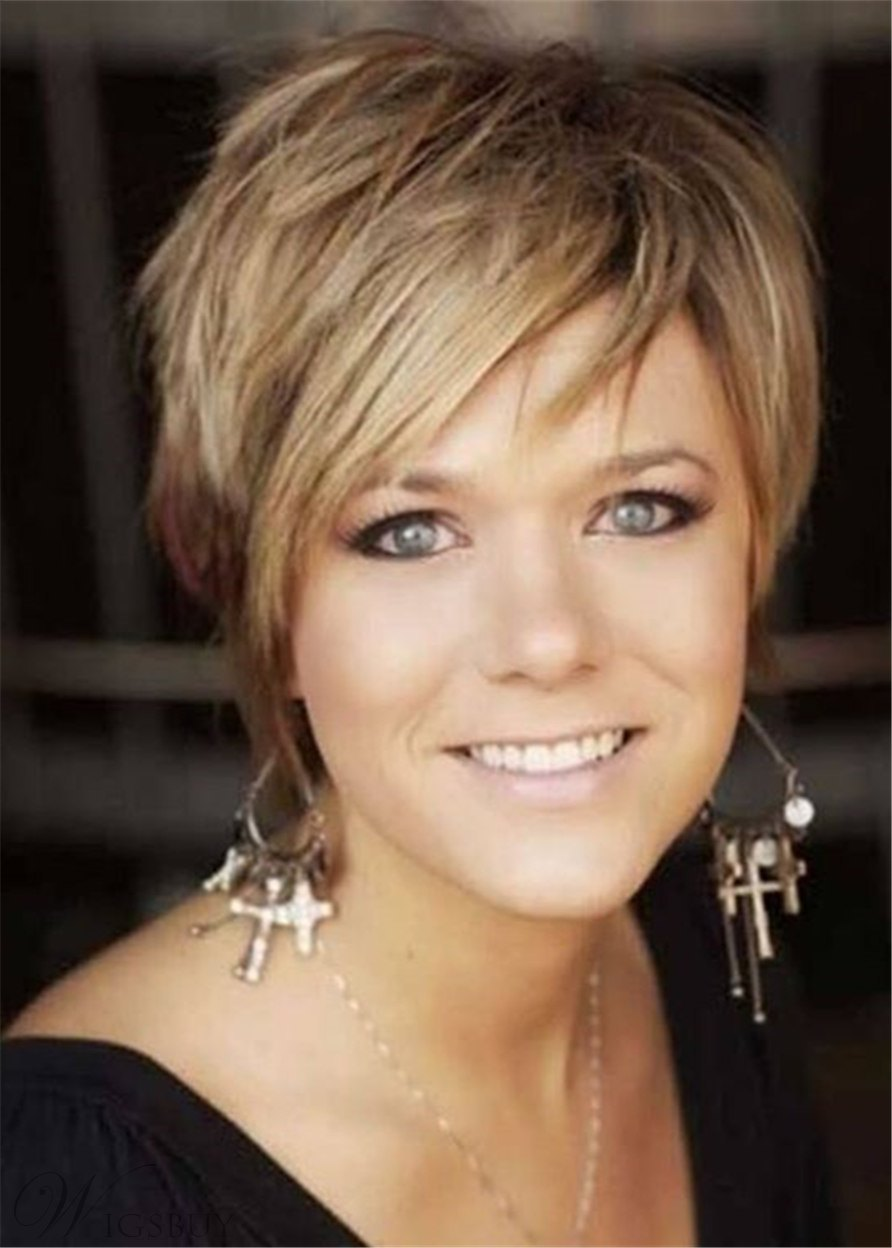 Short Layered Pixie Haircut Nature Straight Synthetic Hair Capless Wigs 10Inch