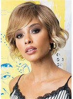 African American Women's Bob Style Wavy Human Hair Wigs With Bangs 12Inch