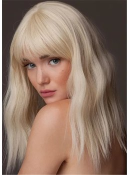 Women's Long Wavy Hairstyles Blonde Color Human Hair Capless Wigs With Bangs 18 Inch