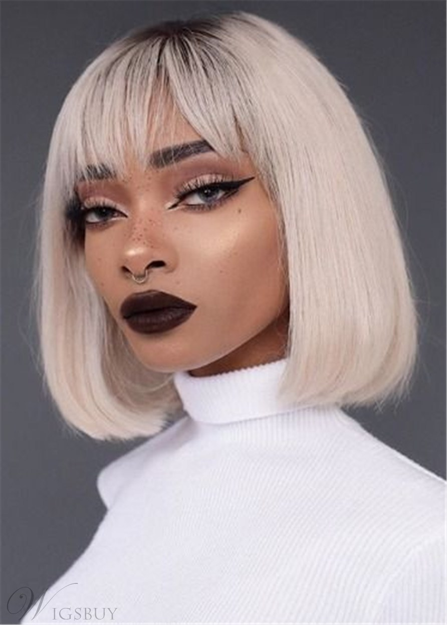 White Short Bob Hairstyles Straight Synthetic Hair Capless Wigs With Bangs 14 Inch