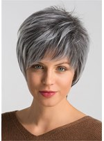 Grey Layered Short Hairstyle Human Straight Capless Women's Wigs 8 Inches