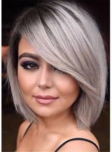 Side Part Gray Bob Hairstyle Natural Straight Human Hair Capless Women Wigs 10 Inch