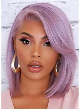Side Part Purple Bob Hairstyle Natural Straight Human Hair Capless Women Wigs 14 Inch