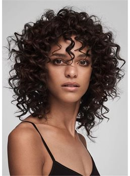 Women's Medium Curly Bob Style Kinky Curly Human Hair Wigs With Bangs 14Inch