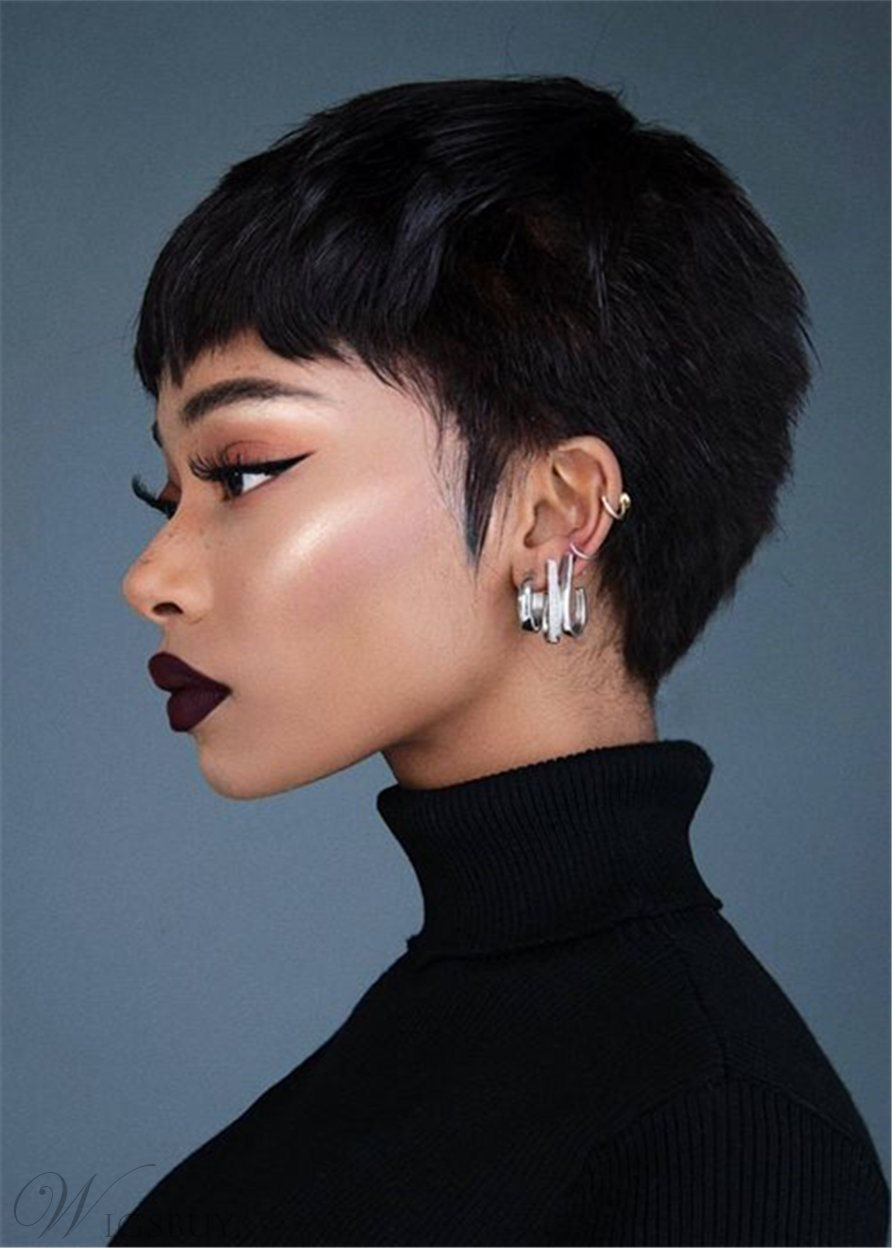 Boy Cut Short Weave Bump Hairstyle Human Straight Capless Women's Wigs 8 Inches