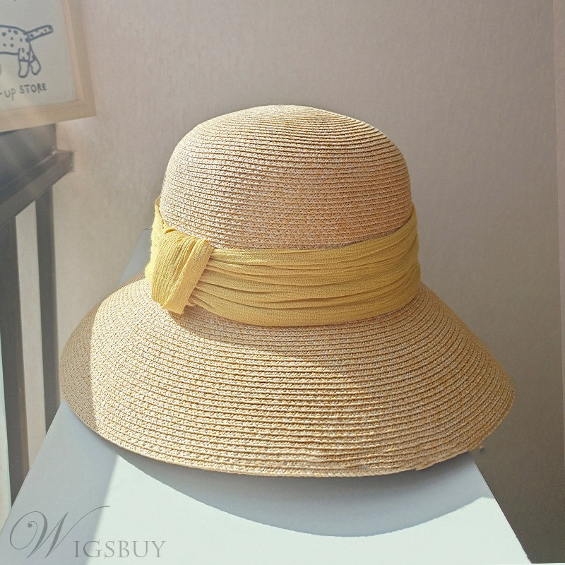 Sweet Style Women/Ladies Dome Crown Type Plain Color Block Pattern Straw Hats
