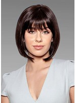 Short Bob Hairstyles Women's Cute Straight Synthetic Hair With Bangs Capless Wigs 10Inch