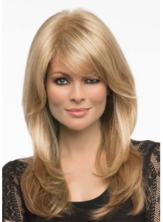 Sexy Women's Long Length Light Brown Blonde Body Wavy Synthetic Hair Capless Wigs 24Inch