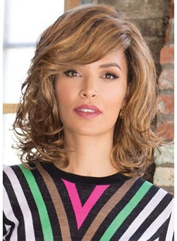 Women's Medium Hairstyle Lovely Wavy Synthetic Hair Wigs With Bangs Capless Wigs 16Inch