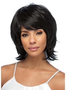 Women's Short Layered Hairstyles Wavy Human Hair Wigs With Bangs Capless Wigs 12Inch