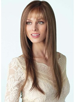 Fashion Women's Long Layered Straight Human Hair Wigs With Bangs Capless Wigs 26Inch