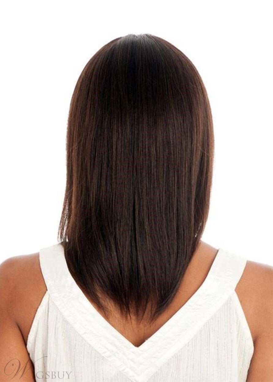 Medium Hairstyles Women's Cute Straight Bob Style With Bangs Synthetic Hair Capless Wigs 16Inch