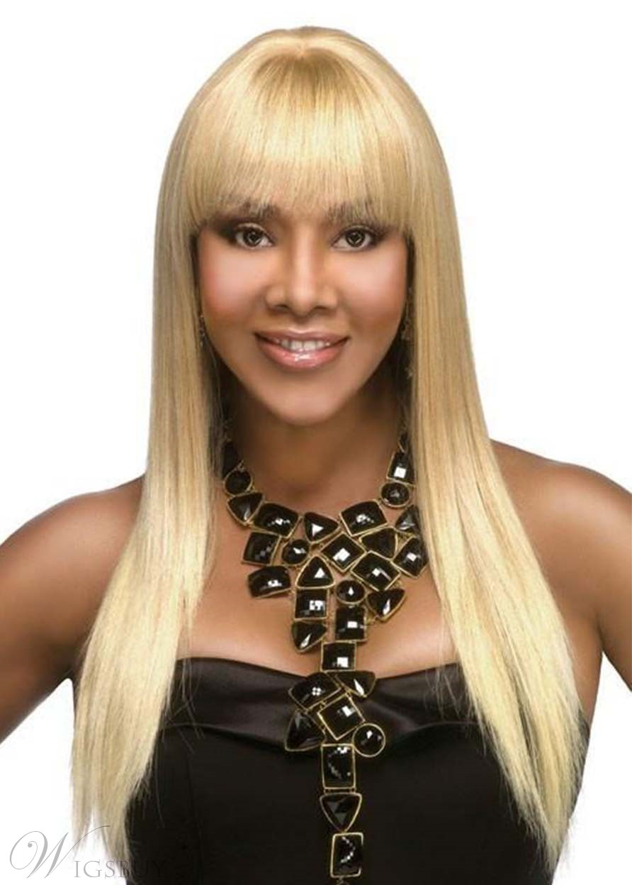 Women's Long Straight Hairstyles Blonde Color Synthetic Hair Capless Wigs With Bangs 24Inch