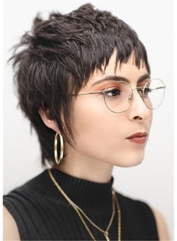 Brunette Cropped Razor Cut Mullet with Human Straight Hair Messy Texture Women's Wigs 10 Inches