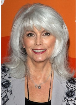 Women's Long Gray Bob Hairstyle Wavy Synthetic Hair Wigs With Bangs Capless Wigs 16Inch