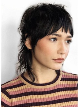 Messy Chin-Length Cut Human Straight Hair With Bangs Women's Wigs 14 Inches