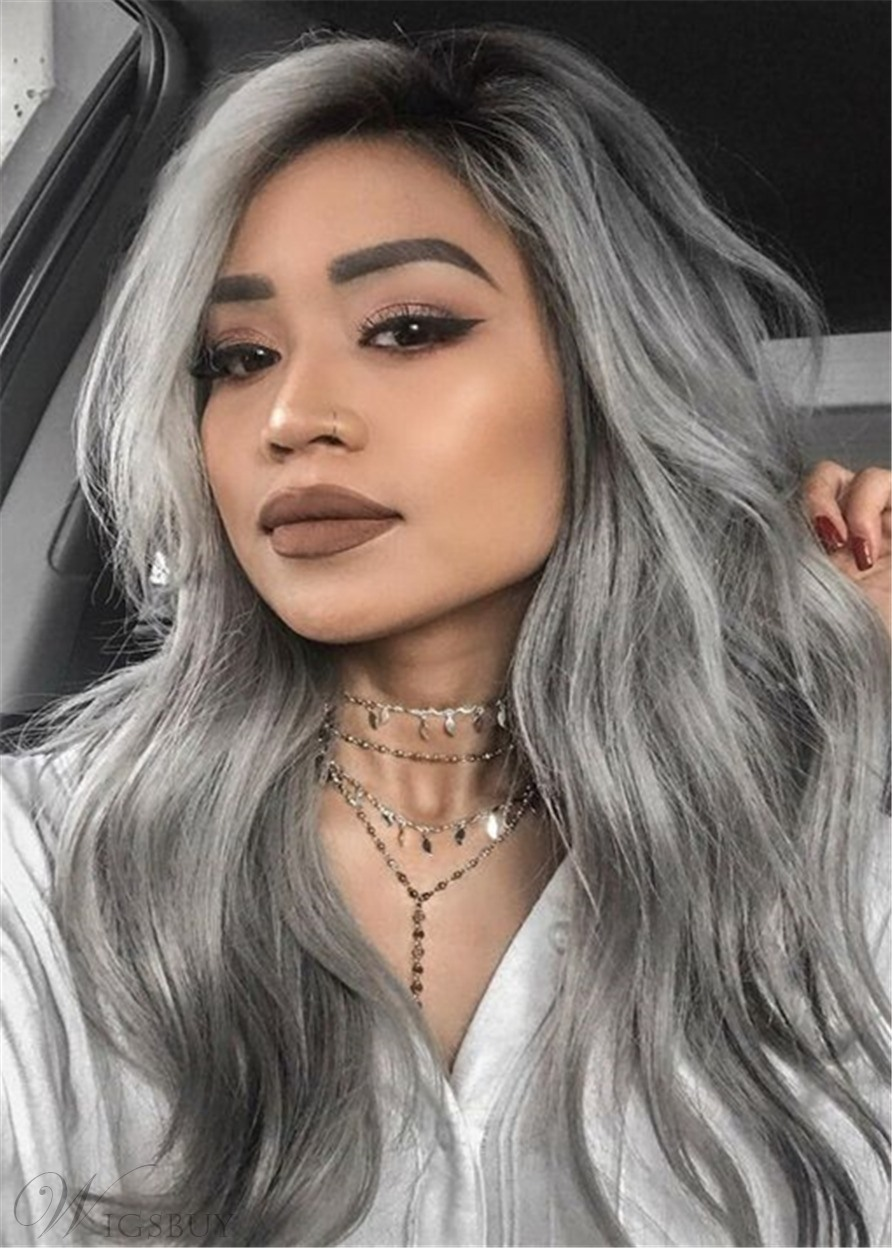 Long Wavy Gray Hairstyle Natural Wavy Human Hair Capless Women Wigs 24 Inches