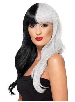Long Cruella Hairstyle Black and White Synthetic Hair With Bangs Capless Wig