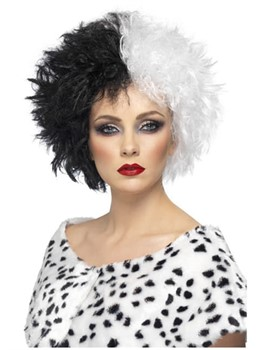 Women's Cruella Wig Hairstyle Black and White Synthetic Hair Wavy Wig