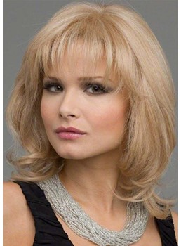 Women's Medium Hairstyles Light Color Layered Wavy Synhetic Hair Capless Wigs With Bangs 16Inch