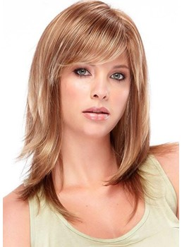 Medium Hairstyles Women's Blonde Slik Straight Synthetic Hair Wigs With Bangs Capless Wigs 16Inch
