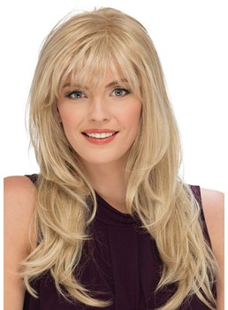 Women's Blonde Color Long Length Natural Straight Human Hair Capless Wigs 24Inch