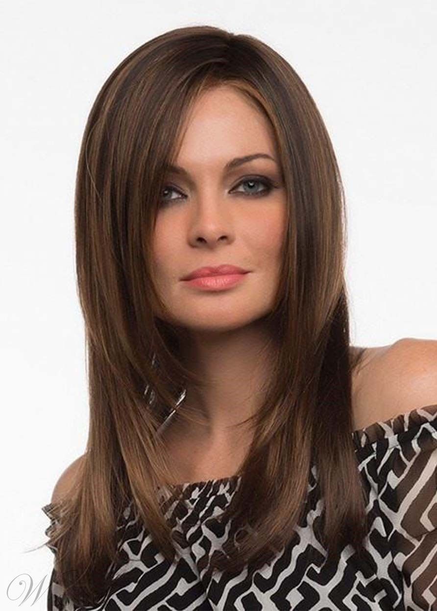 Natural Looking Women's Long Bob Hairstyles Straight Synthetic Hair Capless Wigs 22Inch