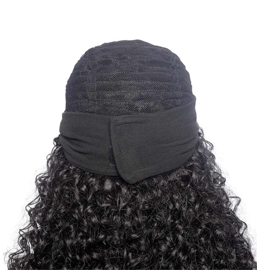 Headbang Wig Kinky Curly Synthetic Hair Wigs With Bang for African American
