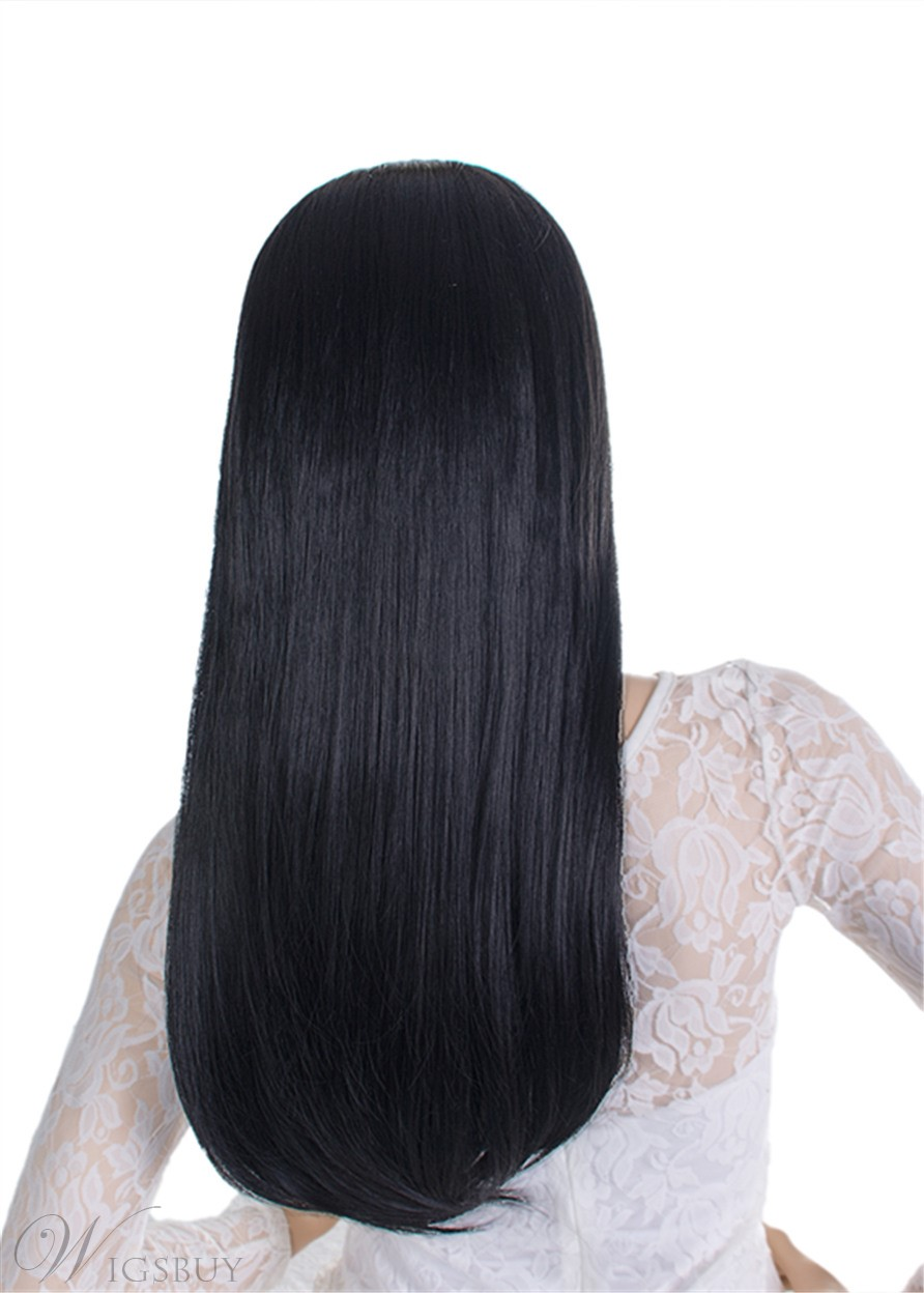 Headband Wig Natural Straight Synthetic Hair Wigs With Bang For Black Women