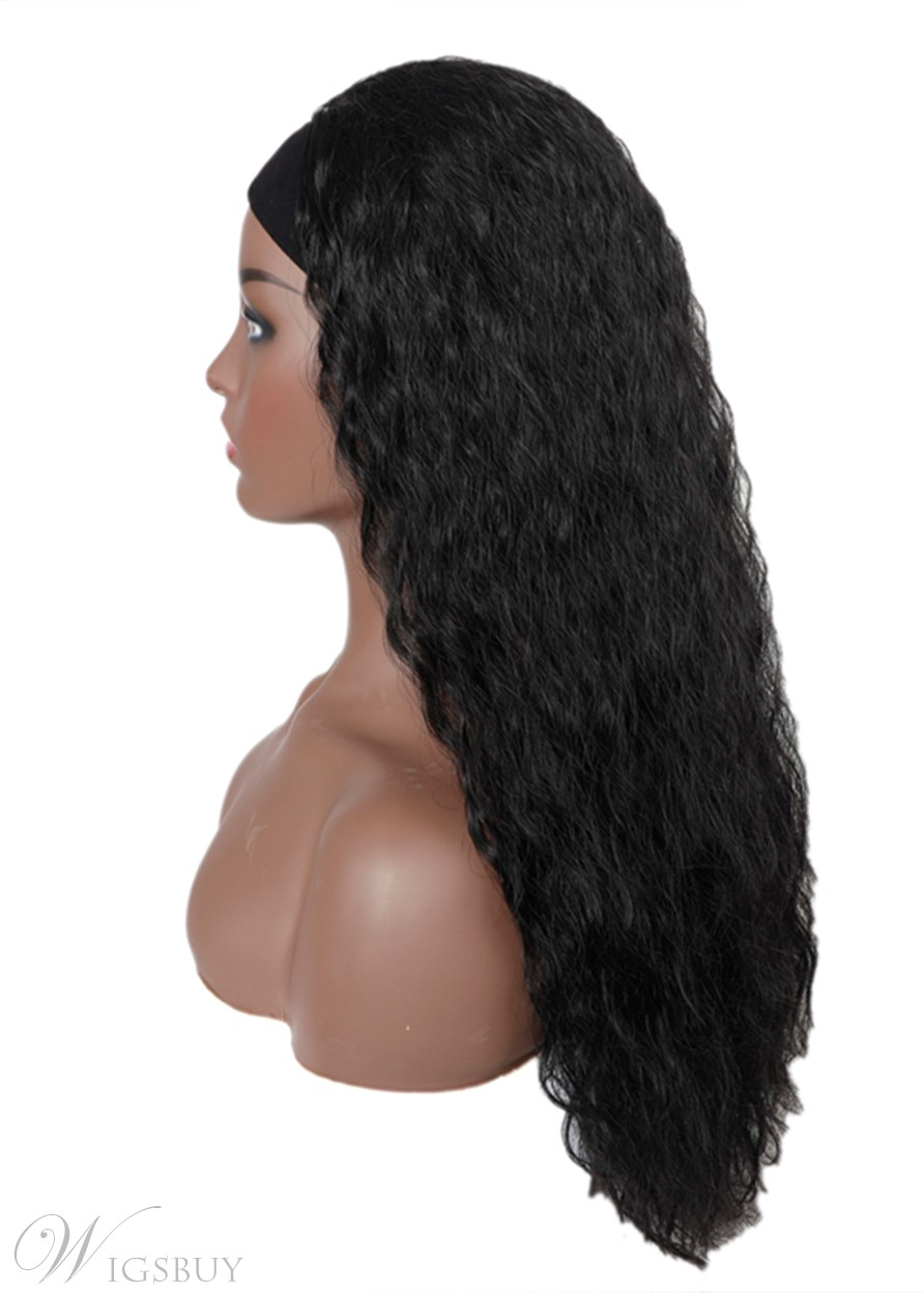 Headband Wig Kinky Curly Synthetic Hair Wigs for Black Women