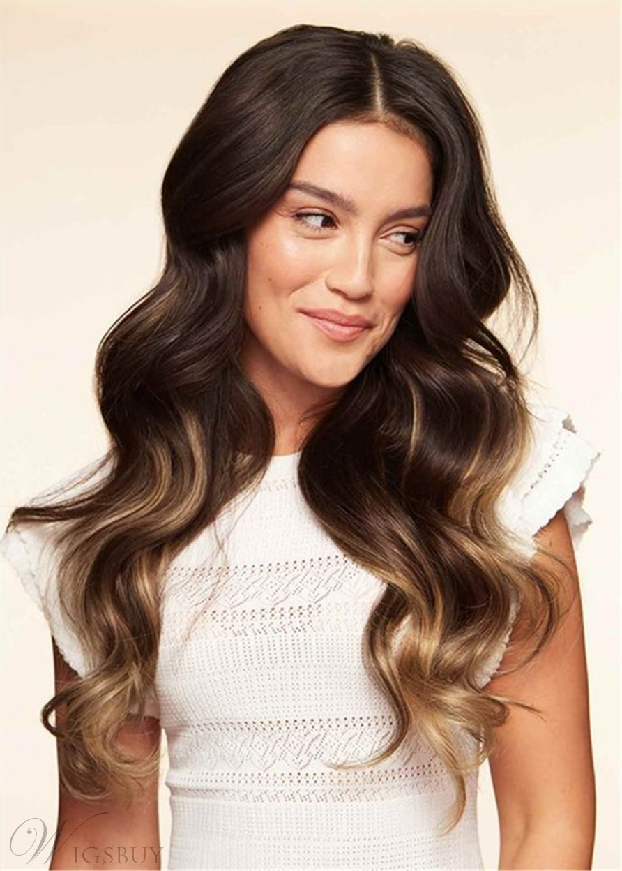 Balayage Hair Middle Part Big Wavy Human Hair Capless Women Wig 26 Inches