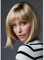 Short Bob Hairstyle Women's Natural Looking Straight Synthetic Hair Capless Wigs 12Inch