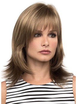 Women's Medium Shaggy Layered Straight Synthetic Hair Wigs With Bangs Capless Wigs 16Inch