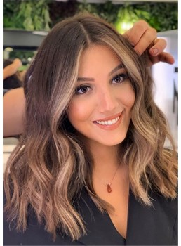 Balayage Hairstyle Multi Blonde Tones Human Hair Capless Women Wig 20 Inches