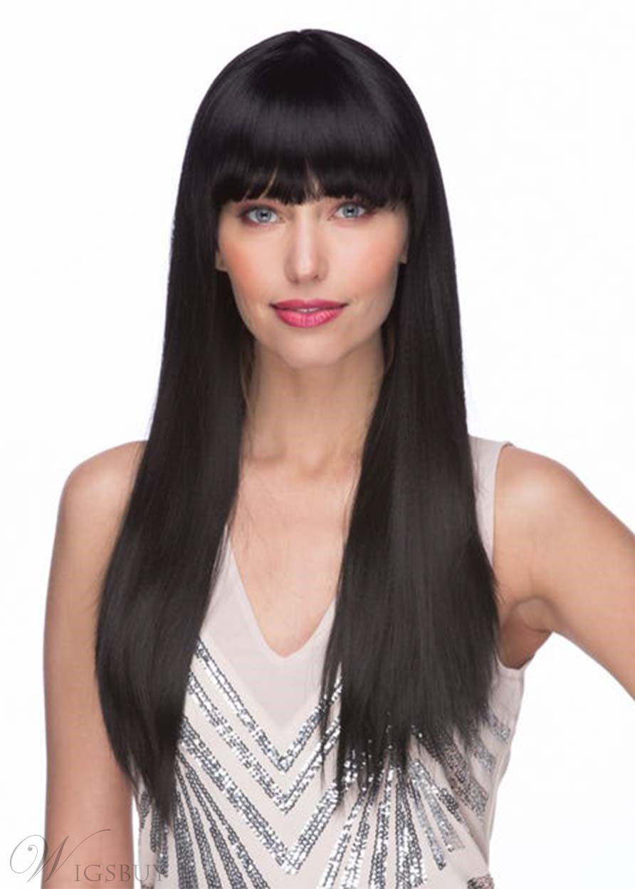 Natural Looking Women's Long Bob Hairstyles Straight Human Hair Wigs With Bangs Capless Wigs 26Inch