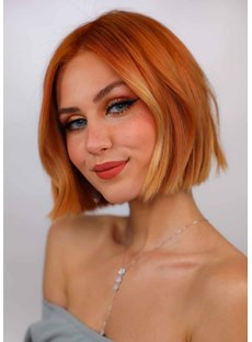 Women's Short Bob Hairstyles Natural Looking Straight Hair Capless Wigs 12Inch