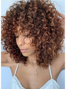 Medium Haistyles Women's Afro Big Culry Synthetic Hair Capless Wigs With Bangs 16Inch