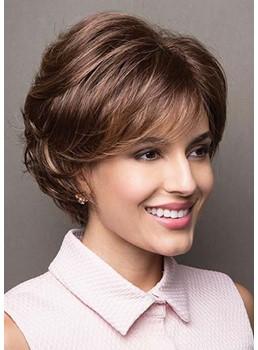 Trendy Hairstyles Women's Short Bob Layered Wavy Synthtic Hair Capless Wigs With Bangs 10Inch