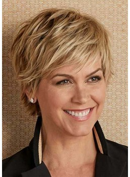 Natural Looking Women's Short Shaggy Layered Straight Synthetic Hair With Bangs Capless Wigs 8Inch