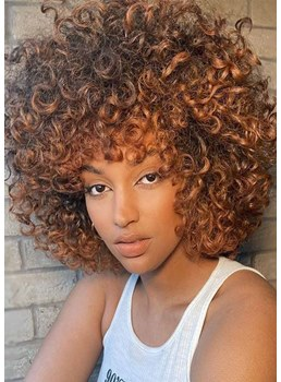 African American Women's Afro Kinky Curly Synthetic Hair Capless Wigs With Bangs 16Inch
