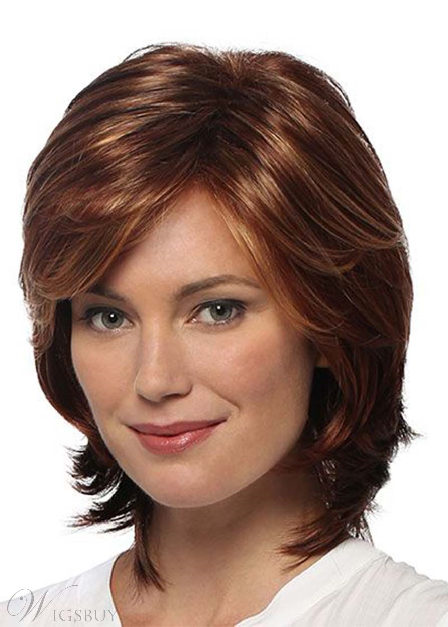 Women's Short Layered Hairstyles Shaggy Natural Straight Synthetic Hair Capless Wigs 14Inch