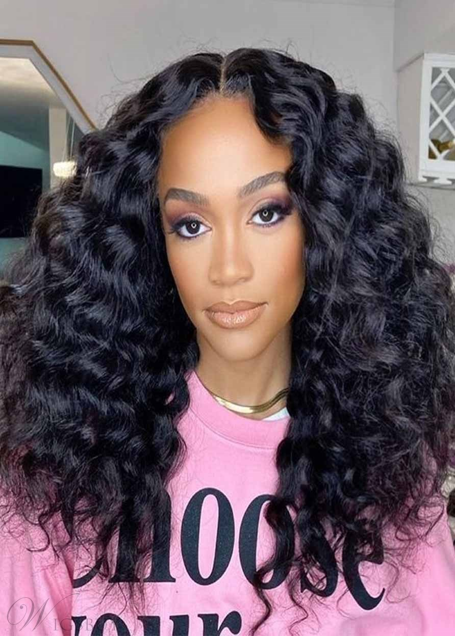 African American Women's Afro Kinky Curly Middle Part Synthetic Hair Lace Front Wigs 22Inch