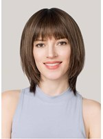 Women's Short Bob HairStyles Natural Looking Straight Human Hair Capless Wigs With Bangs 14Inch
